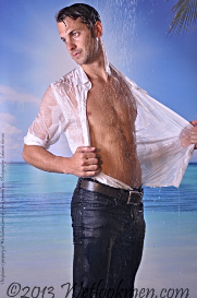 emanuel wet jeans and shirt