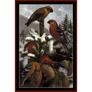 Crossbills - Wildlife cross stitch pattern by Cross Stitch Collectibles | Crafting | Cross-Stitch | Wall Hangings