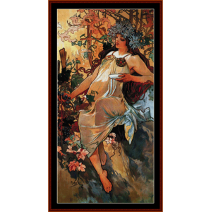 autumn 1896 - mucha cross stitch pattern by cross stitch collectibles