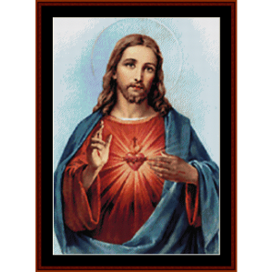 sacred heart of jesus - religious cross stitch pattern by cross stitch collectibles