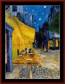 cafe terrace - van gogh cross stitch pattern by cross stitch collectibles