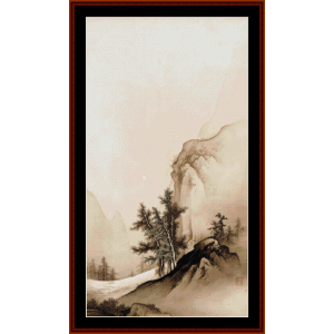 landscape with autumn moon - asian art cross stitch pattern by cross stitch collectibles