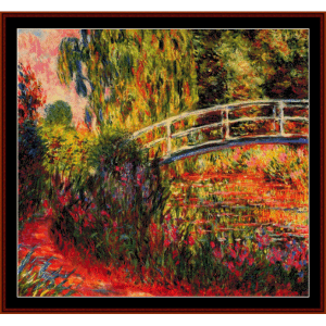 japanese bridge ii - monet cross stitch pattern by cross stitch collectibles