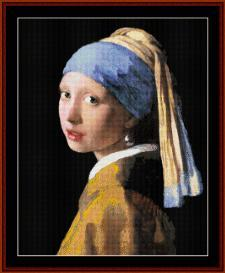 girl with pearl earring - vermeer cross stitch pattern by cross stitch collectibles