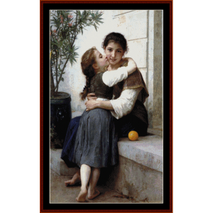 A Little Coaxing - Bouguereau cross stitch pattern by Cross Stitch Collectibles | Crafting | Cross-Stitch | Wall Hangings