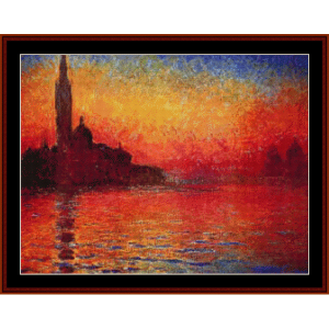 dusk 1908 - monet cross stitch pattern by cross stitch collectibles