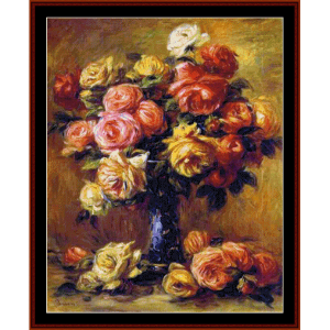 vase of roses - renoir cross stitch pattern by cross stitch collectibles