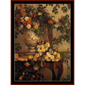 flowers - bazille cross stitch pattern by cross stitch collectibles