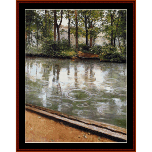 riverbank in the rain - caillebotte cross stitch pattern by cross stitch collectibles