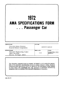 1972 chevrolet monte carlo ama specifications