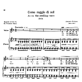 come raggio di sol, low voice in d minor, a.caldara. transposition for low voice. for contralto/bass. source: anthology of italian song of the 17th and 18th centuries (parisotti), vol.1, schirmer (1894).