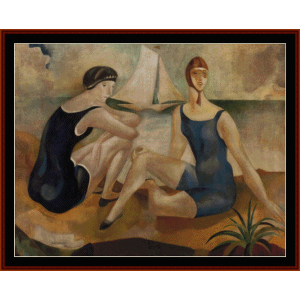 the bathers, 1925 - almada-negreiros cross stitch pattern by cross stitch collectibles