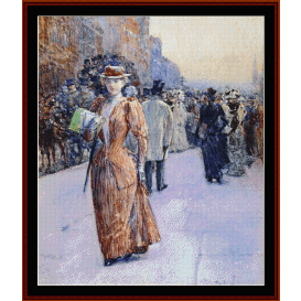 new york street scene - childe-hassam  cross stitch pattern by cross stitch collectibles