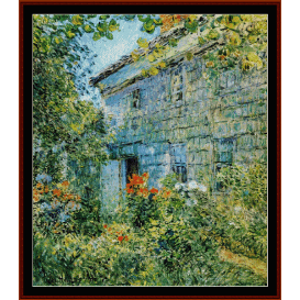 old house & garden, east hampton - childe-hassam  cross stitch pattern by cross stitch collectibles