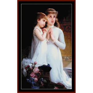 Two Girls Praying - Emile Munier cross stitch pattern by Cross Stitch Collectibles | Crafting | Cross-Stitch | Wall Hangings