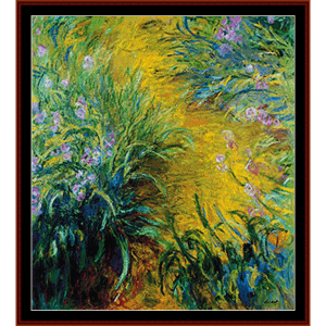 path through the irises - monet cross stitch pattern by cross stitch collectibles