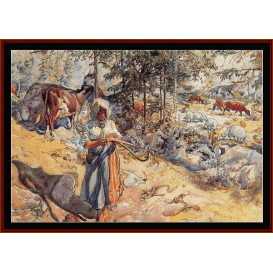 cowgirl in the meadow - larsson  cross stitch pattern by cross stitch collectibles