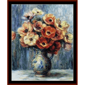 vase of anemones - renoir cross stitch pattern by cross stitch collectibles