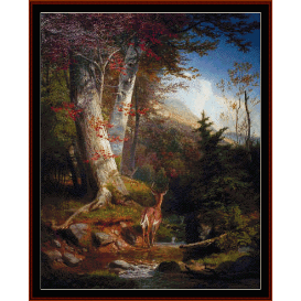 mountain stream & deer - wh beard  cross stitch pattern by cross stitch collectibles