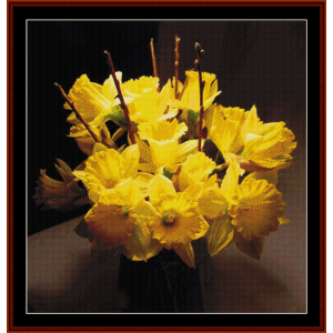 vase of daffodils - floral cross stitch pattern by cross stitch collectibles