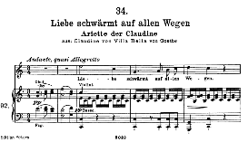 "Arietta der Claudine D.239-6 in C Major, ""liebe schwärmt auf allen wegen"", High Voice. F. Schubert. 