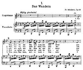 Das Wandern D.795-1 in B Flat Major, High Voice. F. Schubert (Die Schöne Müllerin) Pet. | eBooks | Sheet Music