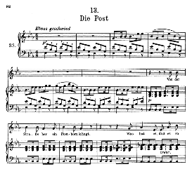 die post d.911-13, high voice in e flat major, f. schubert (winterreise) pet.