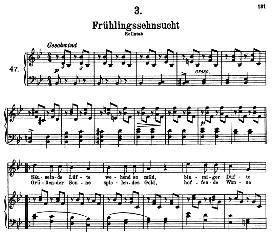 frühlingssehnsucht d.957-3, high voice in b flat major, f. schubert (schwanengesang) pet.