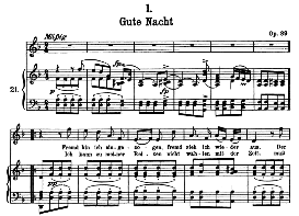 Gute Nacht D.911-1, High Voice in D Minor, F. Schubert (Winterreise) Pet. | eBooks | Sheet Music