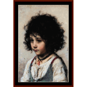 young girl - harlamoff cross stitch pattern by cross stitch collectibles