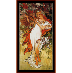 Spring 1896 - Mucha cross stitch pattern by Cross Stitch Collectibles | Crafting | Cross-Stitch | Wall Hangings