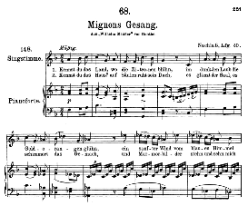 "mignon d.321 ""kennst du das land"", high voice in f major, f. schubert (pet.)"