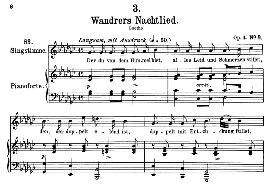 "Wanderers nachtlied D.224 ""Der du von dem himmel bist"", High Voice in G Flat Major, F. Schubert 
