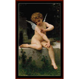 cupid with butterfly - bouguereau cross stitch pattern by cross stitch collectibles