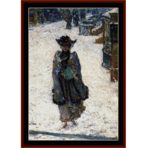Christmas Morning, Street Scene - Childe-Hassam  cross stitch pattern by Cross Stitch Collectibles | Crafting | Cross-Stitch | Wall Hangings