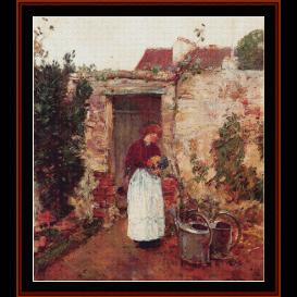 the garden door - childe-hassam  cross stitch pattern by cross stitch collectibles