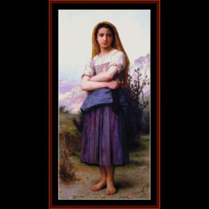 Young Shepherdess - Bouguereau cross stitch pattern by Cross Stitch Collectibles | Crafting | Cross-Stitch | Wall Hangings