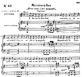 "dove sono (aria for soprano)..with recitative ""e susanna non vien..."" w.a.mozart: le nozze di figaro (the marriage of figaro), k. 492. ricordi (pd)"