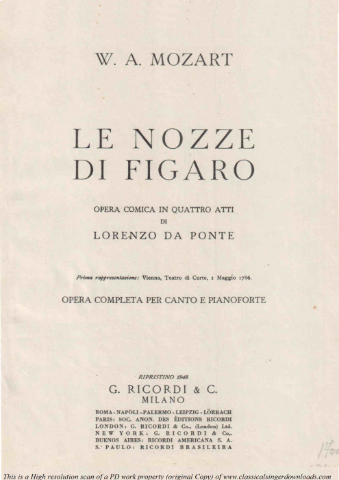 First Additional product image for - L'ho perduta, me meschina. (Aria for Soprano/Mezzo). W.A.Mozart: Le Nozze di Figaro (The Marriage of Figaro), K. 492.  Vocal Score. Ed. Ricordi (PD)