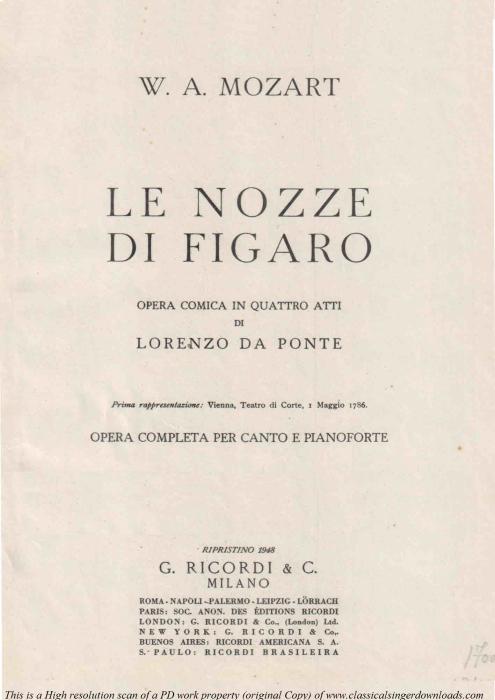 First Additional product image for - Voi, che sapete. Soprano/Mezzo Aria. Le nozze di Figaro K.492, W.A. Mozart.  Vocal Score. Ed. Ricordi (PD)