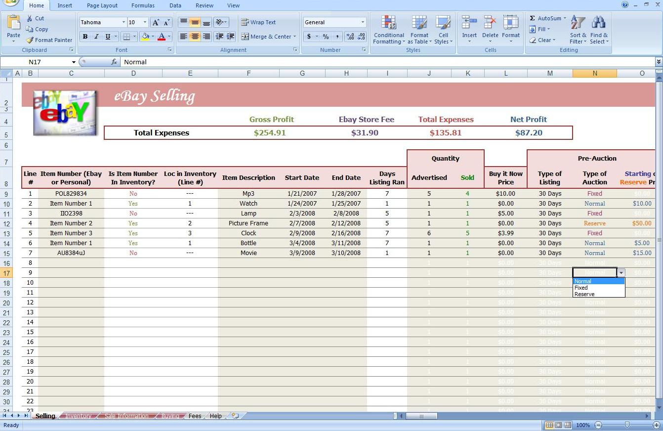 Ebay Store Spreadsheet Track Profit Inventory Software Business Other