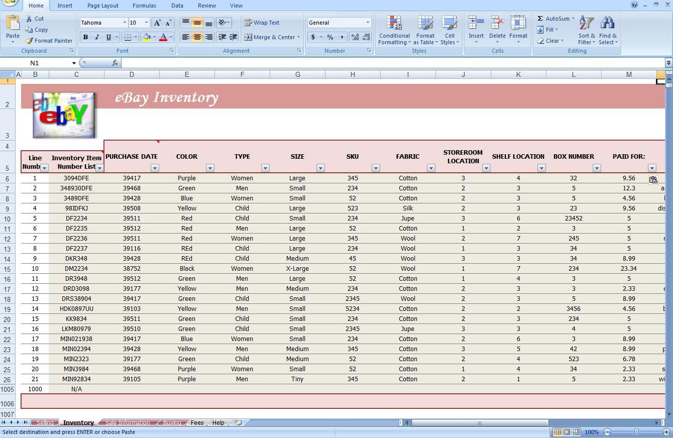 Third Additional product image for - eBay Store Spreadsheet - Track Profit & Inventory