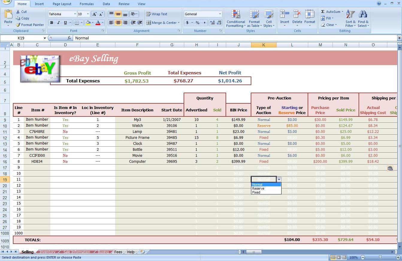 Ebay Auction Spreadsheet Track Profit Inventory Software Business Other
