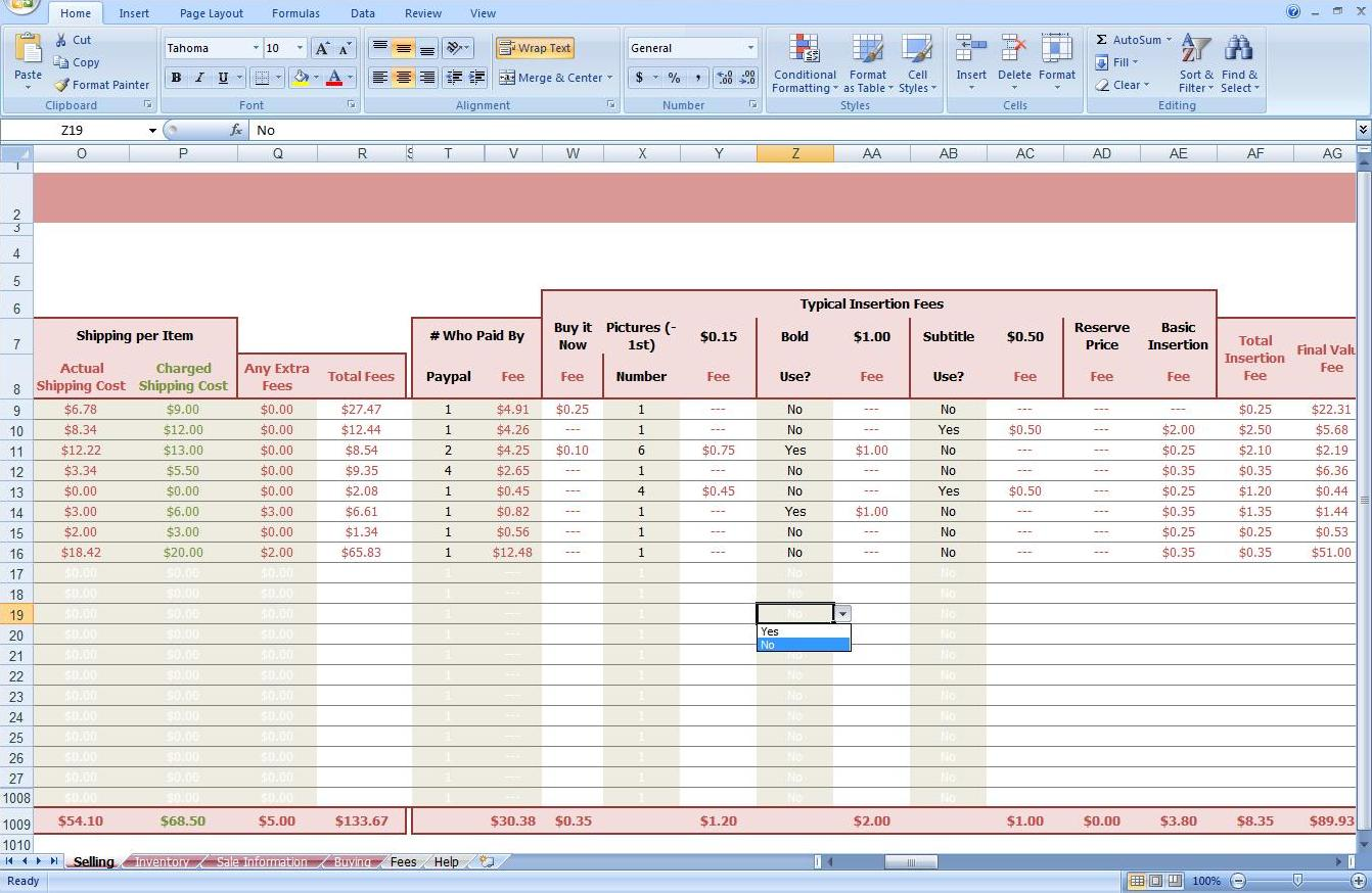 First Additional product image for - eBay Auction Spreadsheet -Track Profit & Inventory