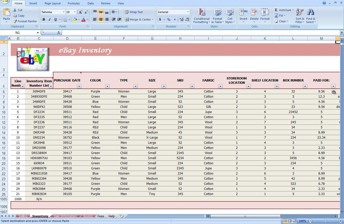 Third Additional product image for - eBay Auction Spreadsheet -Track Profit & Inventory