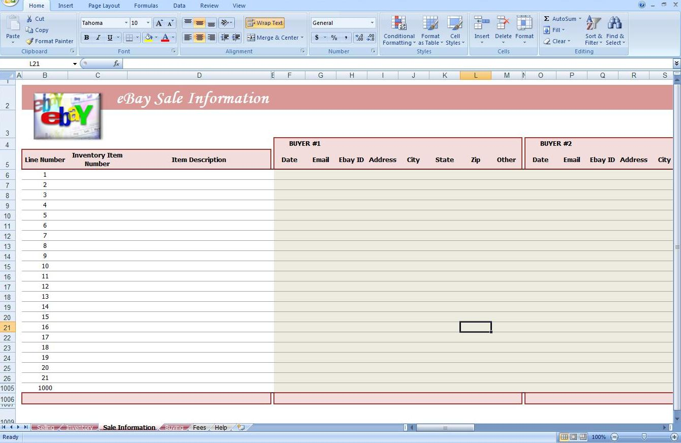 Fourth Additional product image for - eBay Auction Spreadsheet -Track Profit & Inventory