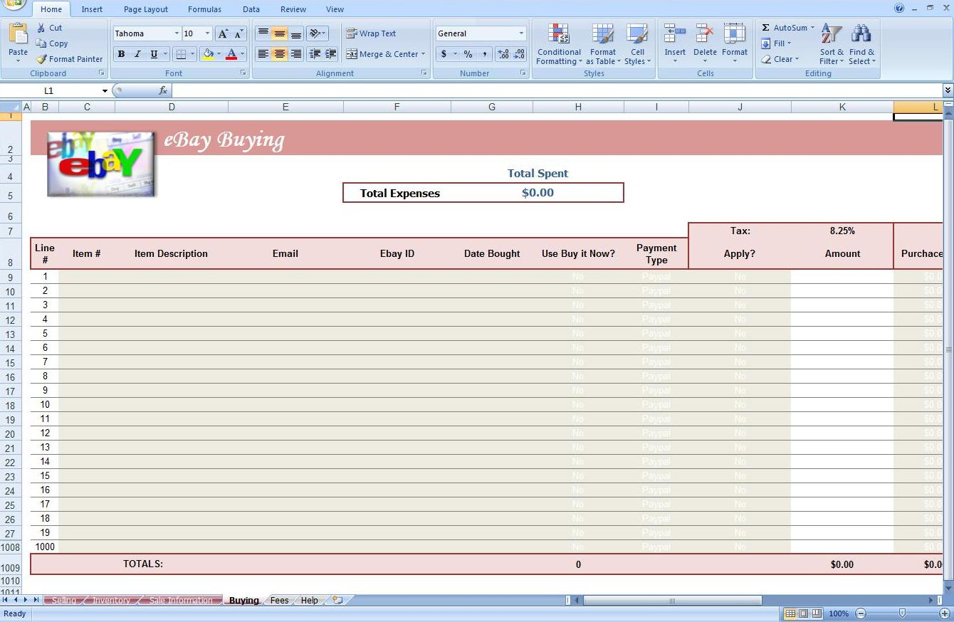 Fifth Additional product image for - eBay Auction Spreadsheet -Track Profit & Inventory