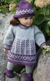 dollknittingpatterns - 0101d anne lise - dress, tights, hat and shoes