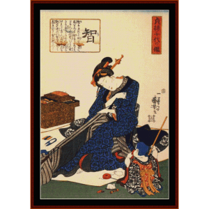 Seated Woman Sewing Kimono - Asian Art  cross stitch pattern by Cross Stitch Collectibles | Crafting | Cross-Stitch | Wall Hangings