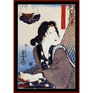 Opening Shellfish at Fukawaga - Asian art  cross stitch pattern by Cross Stitch Collectibles | Crafting | Cross-Stitch | Wall Hangings